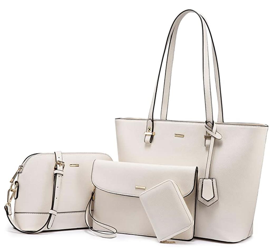 white tote purse