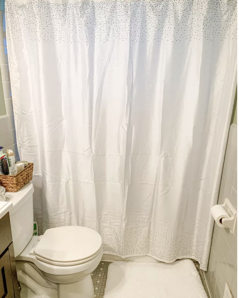 white sparkle shower curtain